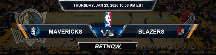Dallas Mavericks vs Portland Trail Blazers 1-23-2020 NBA Odds and Previews