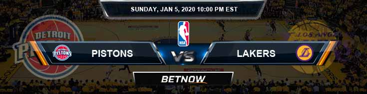 Detroit Pistons vs Los Angeles Lakers 1-5-2020 Spread Picks and Previews