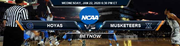 Georgetown University Hoyas vs Xavier Musketeers 01-22-2020 Predictions Spread and Odds