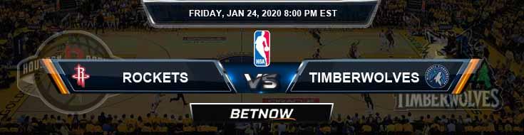 Houston Rockets vs Minnesota Timberwolves 1-24-2020 Spread Odds and Picks