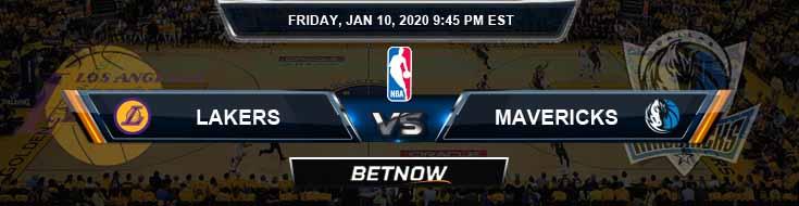 Los Angeles Lakers vs Dallas Mavericks 1-10-2020 NBA Picks and Previews