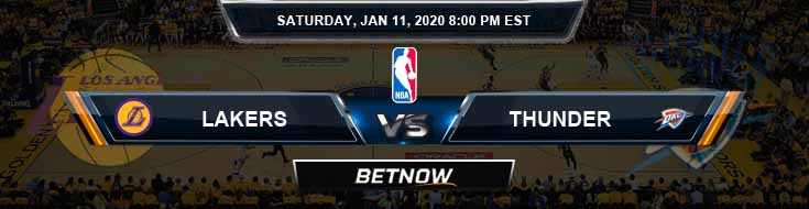 Los Angeles Lakers vs Oklahoma City Thunder 01-11-2020 NBA Odds and Picks