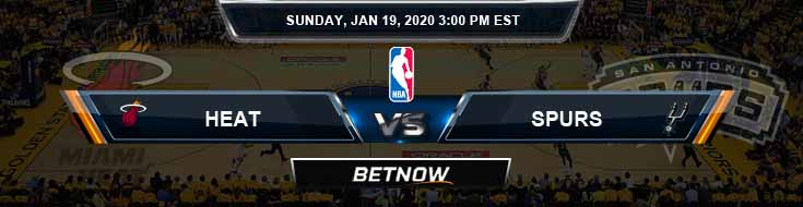 Miami Heat vs San Antonio Spurs 1-19-2020 Spread Picks and Prediction