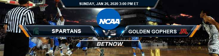 Michigan State Spartans vs Minnesota Golden Gophers 1-26-2020 Preview Spread and Game Analysis