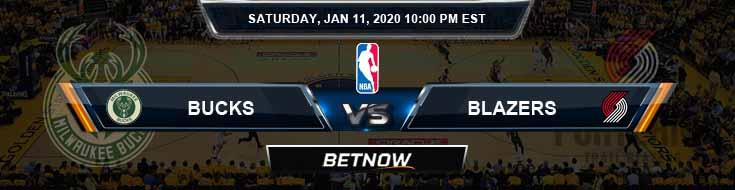 Milwaukee Bucks vs Portland Trail Blazers 1-11-2020 NBA Odds and Previews