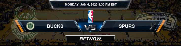 Milwaukee Bucks vs San Antonio Spurs 1-6-2020 Odds Picks and Previews