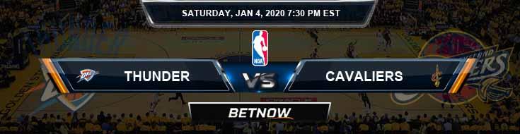 Oklahoma City Thunder vs Cleveland Cavaliers 1-4-2020 Spread Odds and Picks