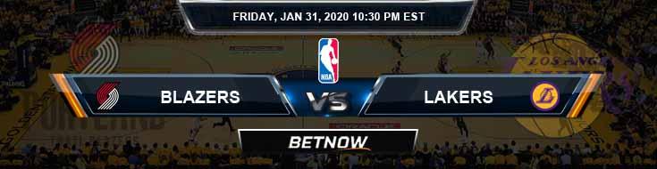 Portland Trail Blazers vs Los Angeles Lakers 1-31-2020 NBA Odds and Picks