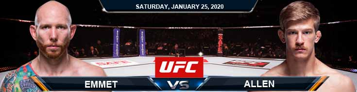 UFC Fight Night 166 Emmett vs Allen 01-25-2020 Previews Predictions and Picks