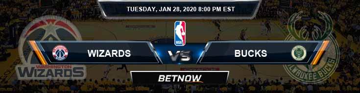 Washington Wizards vs Milwaukee Bucks 1-28-2020 NBA Odds and Previews