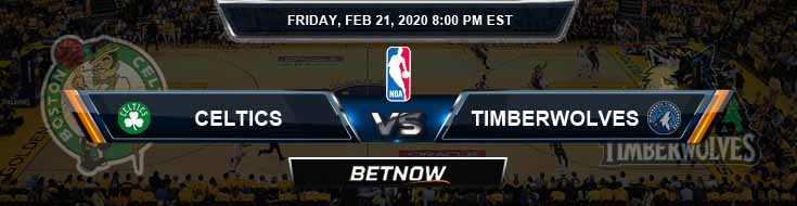 Boston Celtics vs Minnesota Timberwolves 2-21-2020 Spread Odds and Picks