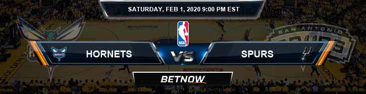 Charlotte Hornets vs San Antonio Spurs 2-1-2020 NBA Odds and Previews