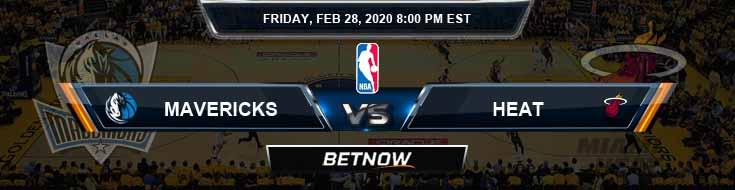 Dallas Mavericks vs Miami Heat 2-28-2020 Previews Picks and Prediction