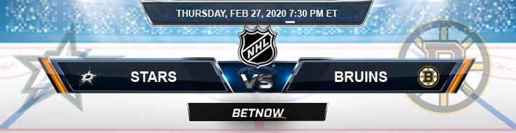 Dallas Stars vs Boston Bruins 02-27-2020 Preview NHL Picks and Betting Odds