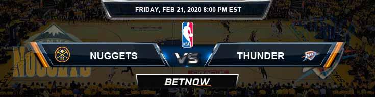 Denver Nuggets vs Oklahoma City Thunder 2-21-2020 NBA Spread and Picks