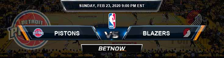 Detroit Pistons vs Portland Trail Blazers 02-23-2020 NBA Odds and Picks