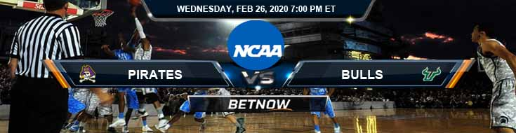 East Carolina Pirates vs South Florida Bulls 2/26/2020 Odds, Picks and Spread