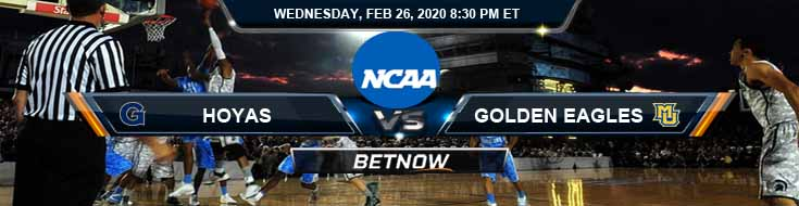 Georgetown University Hoyas vs Marquette Golden Eagles 2-26-2020 Odds Picks and Preview