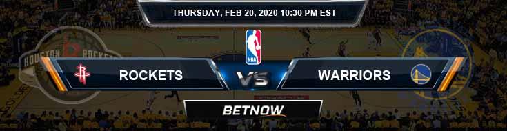 Houston Rockets vs Golden State Warriors 2-20-2020 NBA Spread and Picks