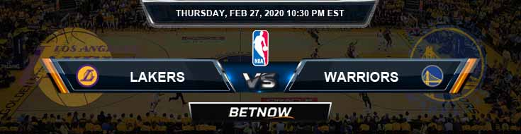 Los Angeles Lakers vs Golden State Warriors 2-27-2020 NBA Odds and Picks