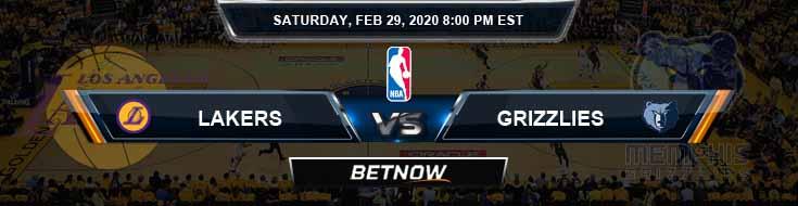 Los Angeles Lakers vs Memphis Grizzlies 2-29-2020 NBA Spread and Picks