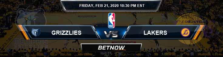Memphis Grizzlies vs Los Angeles Lakers 02-21-2020 NBA Spread and Picks