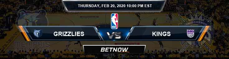 Memphis Grizzlies vs Sacramento Kings 2-20-2020 NBA Odds and Previews