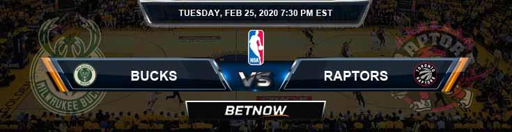 Milwaukee Bucks vs Toronto Raptors 2-25-2020 Odds Picks and Previews