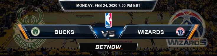 Milwaukee Bucks vs Washington Wizards 2-24-2020 Odds Spread and Picks