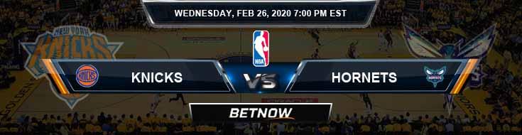 New York Knicks vs Charlotte Hornets 2-26-2020 NBA Picks and Previews