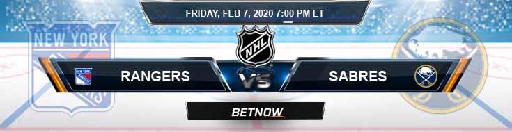 New York Rangers vs Buffalo Sabres 02-07-2020 Betting Predictions Picks and NHL Odds
