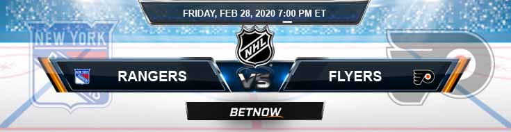New York Rangers vs Philadelphia Flyers 02-28-2020 NHL Preview Betting Odds and Game Analysis