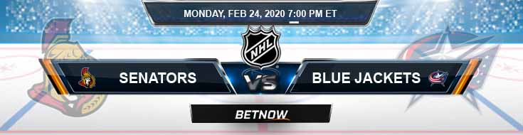Ottawa Senators vs Columbus Blue Jackets 02-24-2020 Preview NHL Odds and Predictions