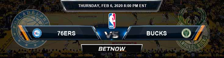 Philadelphia 76ers vs Milwaukee Bucks 2-6-2020 Spread Odds and Picks