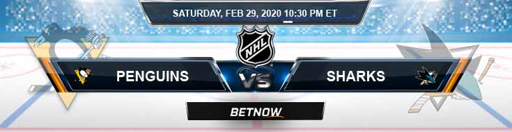 Pittsburgh Penguins vs San Jose Sharks 02-29-2020 Picks NHL Preview and Betting Odds