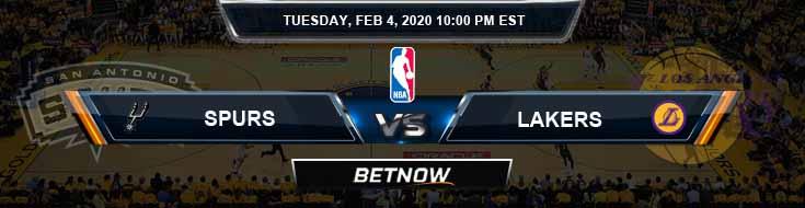 San Antonio Spurs vs Los Angeles Lakers 2-4-2020 NBA Odds and Picks