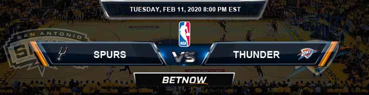 San Antonio Spurs vs Oklahoma City Thunder 02-11-2020 NBA Odds and Picks