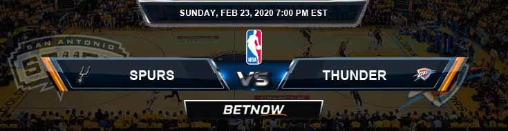 San Antonio Spurs vs Oklahoma City Thunder 02-23-2020 NBA Odds and Picks