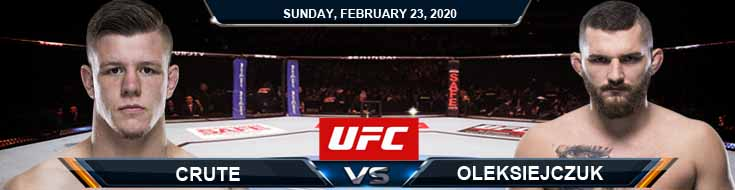 UFC Fight Night 168 Crute vs Oleksiejczuk 2-23-2020 Fight Analysis Odds and Picks