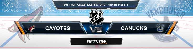 Arizona Coyotes vs Vancouver Canucks 03-04-2020 Previews NHL Game Analysis and Spread