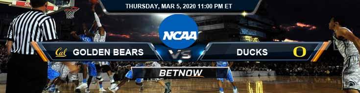 California Golden Bears vs Oregon Ducks 3/5/2020 Odds, Picks and NCAAB Spread