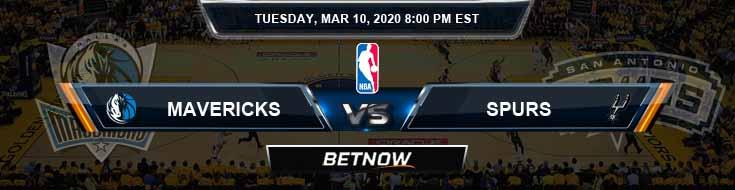 Dallas Mavericks vs San Antonio Spurs 3-10-2020 NBA Picks and Spread