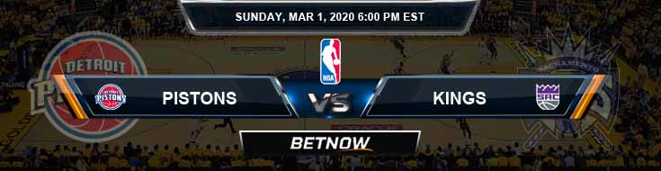 Detroit Pistons vs Sacramento Kings 3-01-2020 NBA Picks and Previews