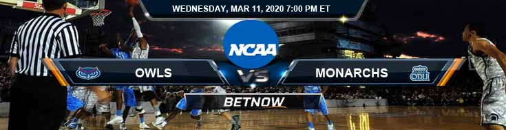 Florida Atlantic Owls vs Old Dominion Monarchs 3/11/2020 Picks, NCAAB Spread and Odds
