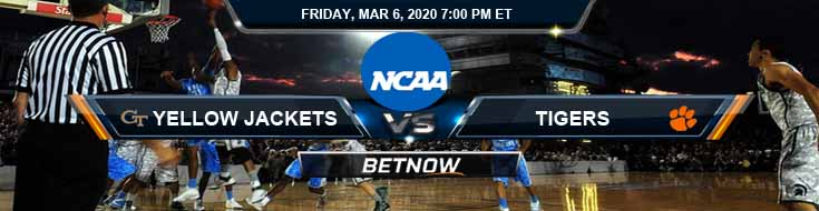 Georgia Tech Yellow Jackets vs Clemson Tigers 3/6/2020 Picks, NCAAB Spread and Odds