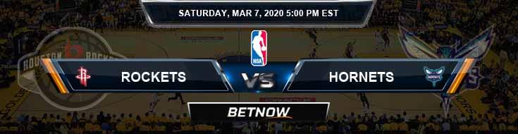 Houston Rockets vs Charlotte Hornets 3-7-2020 Odds Picks and Previews