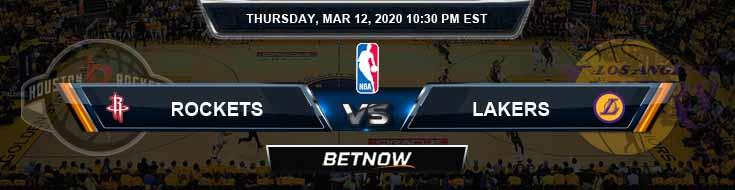 Houston Rockets vs Los Angeles Lakers 3-12-2020 NBA Spread and Picks