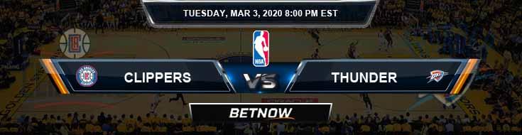 Los Angeles Clippers vs Oklahoma City Thunder 3-3-2020 NBA Odds and Picks