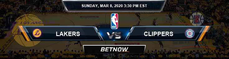 Los Angeles Lakers vs Los Angeles Clippers 3-8-2020 NBA Odds and Picks
