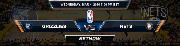 Memphis Grizzlies vs Brooklyn Nets 3-04-2020 Spread Picks and Previews